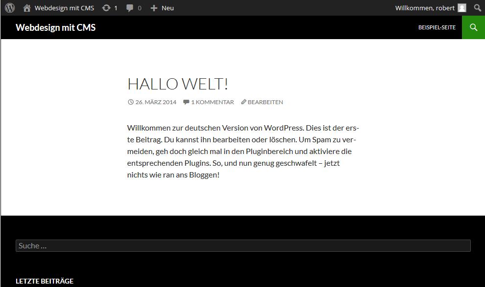 wordpress-neue -Seite